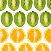 Collage from the cut oranges and kiwi — Stock Photo
