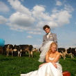 Newlyweds in the field — Stock Photo