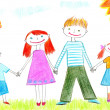 Drawing of happy family of four — Stock Photo