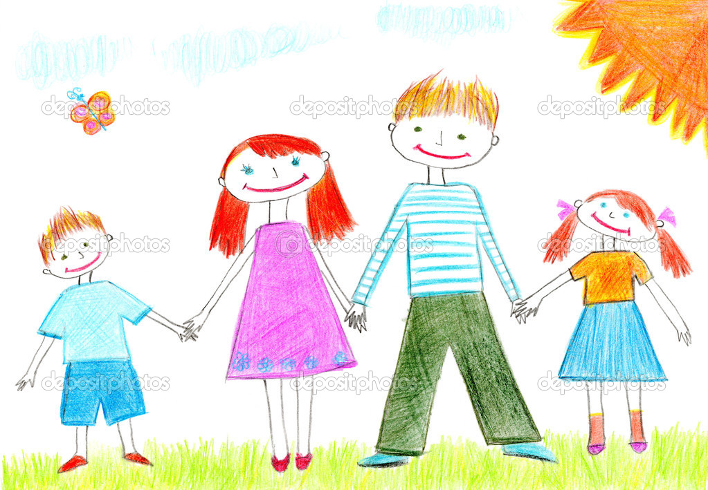 Drawing of happy family with two kids — Stock Photo #1298973