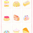 Cake variety, hand drawn — Foto Stock
