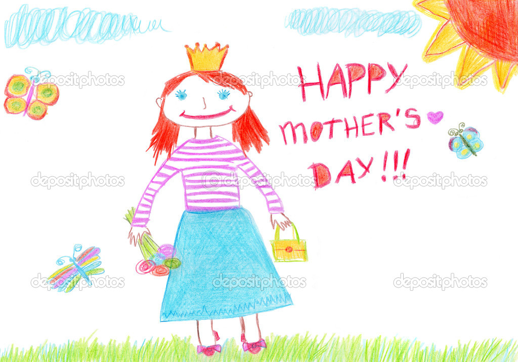 Drawing for Mother's Day, colored pencils  Stock Photo #1354380