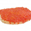 Salmon roe with bread, isolated on white — ストック写真