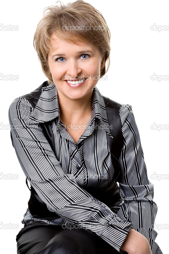 The sitting business woman on a white background — Stock Photo #1312033