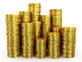 Stacks of gold coins — Stock Photo