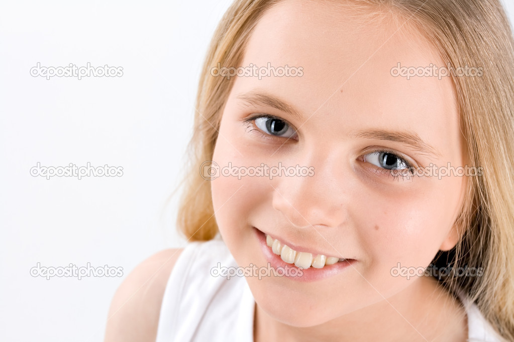 Portrait of Little Girl on white background  Stock Photo #1781573