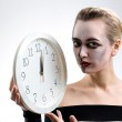 Portrait of a girl with white clock — Stock Photo #2090583