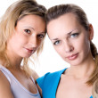 Two young women, over white — Stock Photo