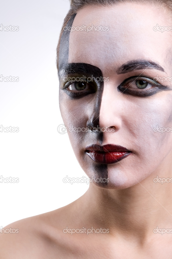 Beautiful woman with contrast make-up on gray background — Stock Photo #2090109