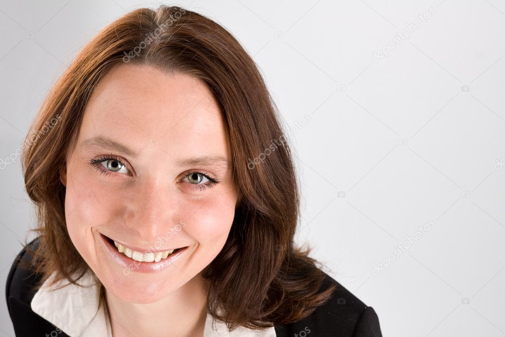 Smiling business woman portrait on gray — Stock Photo #2090864