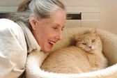 Woman and her cat. — Stock Photo