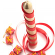 Stock Photo: Christmass candle in over white