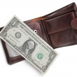 Last dollar in over brown leather purse — Stock Photo #1310579