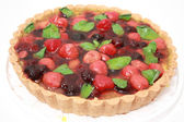 Pie with ripe strawberry and blackberry — Stock Photo