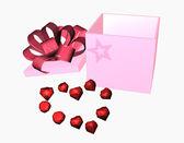 Pink giftbox with jewel heart — Stock Photo