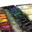 Well-used paintbox with selected focus — Stock Photo