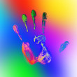 Stock Photo: Rainbow hand print