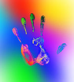 Rainbow hand print — Stock Photo