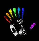 Rainbow hand-print. Seven fingers — Stock Photo