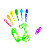 Rainbow hand print. Seven fingers — Stock Photo