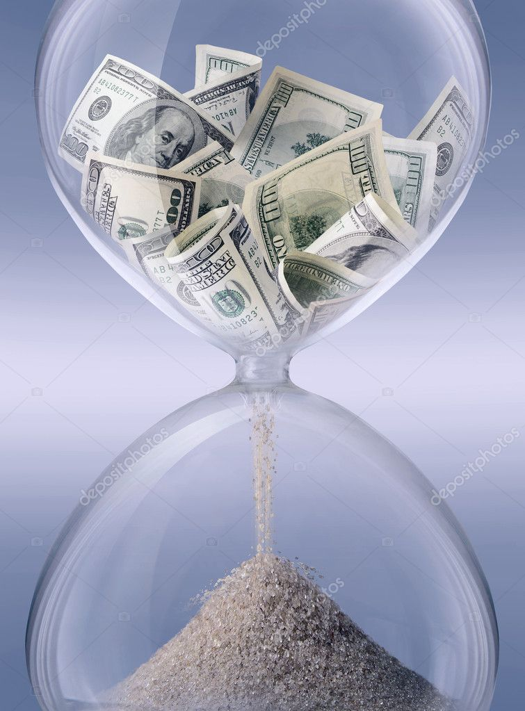 Time - money. Sand-glass symbolizing business time — Stok fotoğraf #1386103
