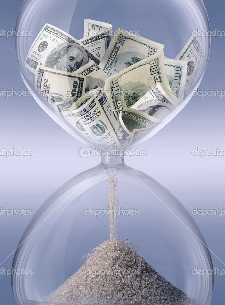 Time - money. Sand-glass symbolizing business time — Stockfoto #1386103