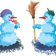 Stock Vector: Chatting snowmen