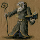 Old wizard with staff and book — Stock Photo