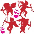 Stock Vector: Cupid postures