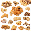 Collage from cookies isolated on white b - Foto de Stock  