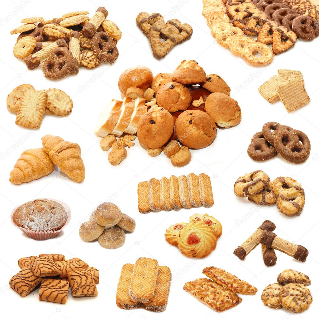 Collage from cookies isolated on white background  Stock Photo #1313675