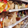 Shelves with goods in a supermarket — Stok fotoğraf