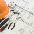 Building tools on the house project - Foto de Stock