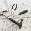 Building tools on house project — Stock Photo #1366045
