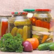 Stock Photo: Fresh and tinned vegetables