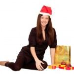 garota de Natal com presentes — Foto Stock