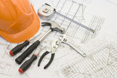 Strumenti di costruzione del progetto casa — Foto Stock