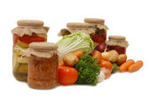 Fresh and tinned vegetables — Stock Photo