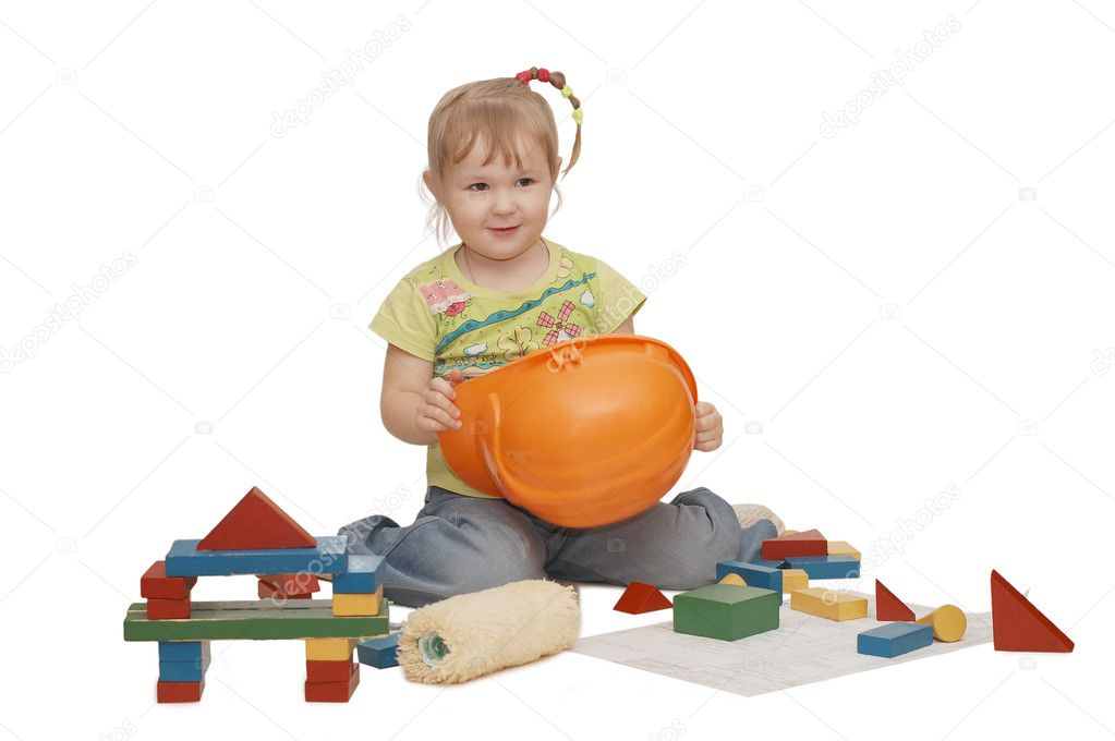 The little girl in a helmet isolated  — Stock Photo #1366489