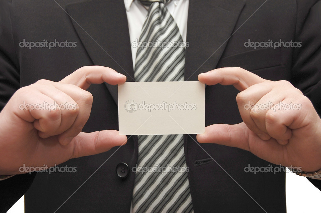 Business man handing a blank business card  Stock Photo #1370154