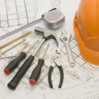 Building tools on house project — Stock Photo #1382650