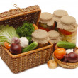 Stock Photo: Fresh,tinned vegetables in wattled box