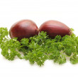 Red onions and parsley — Stock Photo