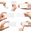 Set of hand holding business card — Stock Photo #1383214