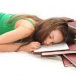 Girl sleeping with open book — Stock Photo