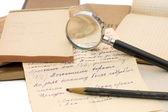 Vieux papiers, vieilles lettres et enveloppes — Photo
