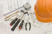 Outils de construction sur le projet de la maison — Photo