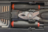 Toolkit of various tools in the box — Stock Photo