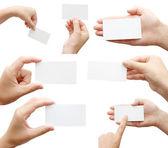Satz von hand halten visitenkarte — Stockfoto