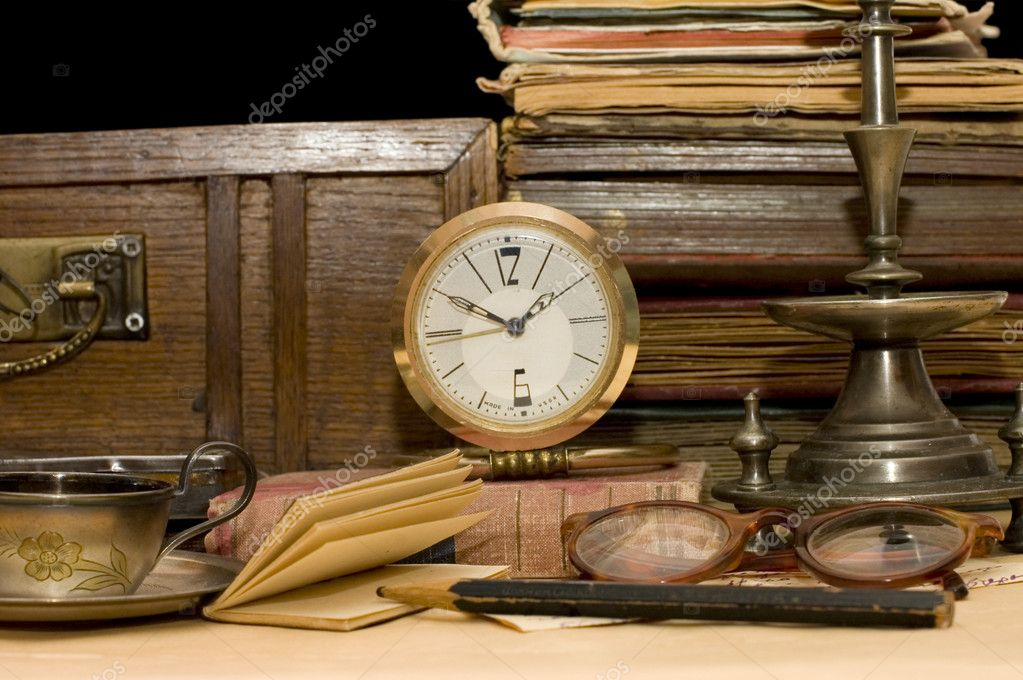 Pile of old books and different things — Stock Photo #1382247